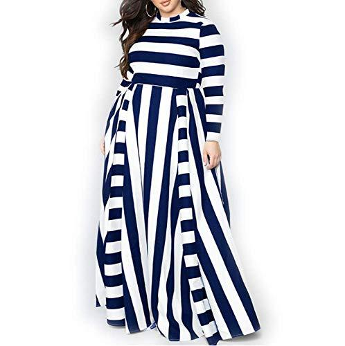 301fdc6010 YUHENG Women Plus Size Dress Long Sleeves Stripes Party Dress Long Maxi  YUHENG Plus Size Party Dresses for Women Online with $57.3/Piece on Beke's  Store ...