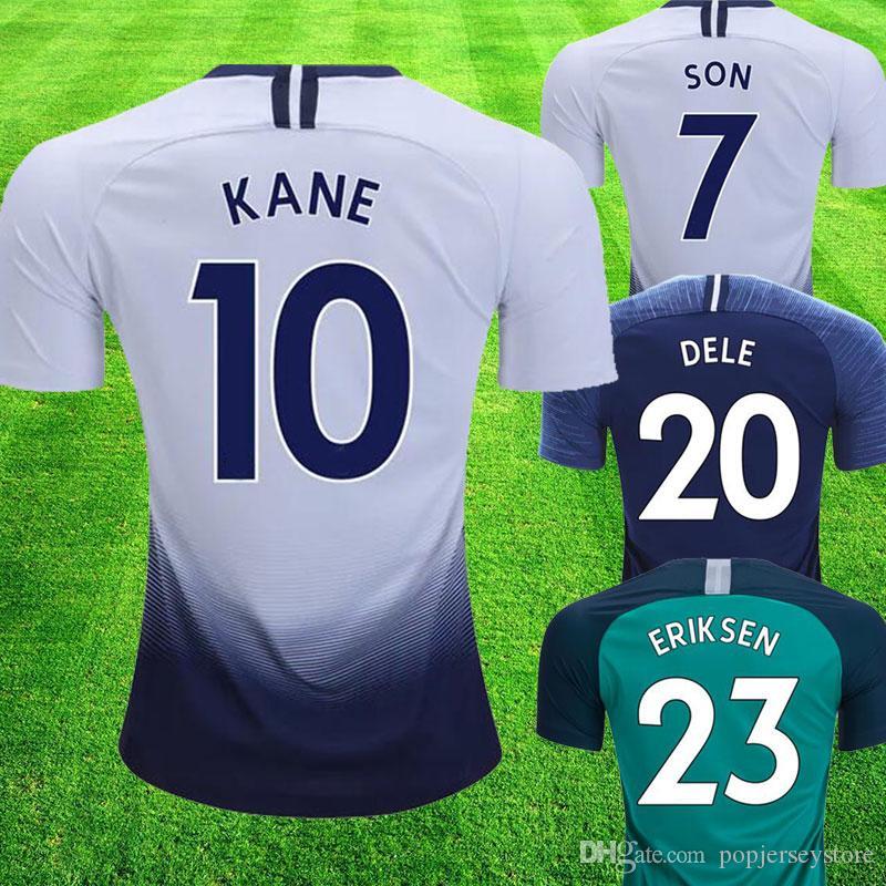 2018 19 Supreme Tottenham Hotsupr Premier League Patches Home White Away  Camisetas De Fútbol Azul Son Kane Dele Eriksen DEMBELE Spurs Futbol Camisa  Camiseta ... eeba5e399cf1a