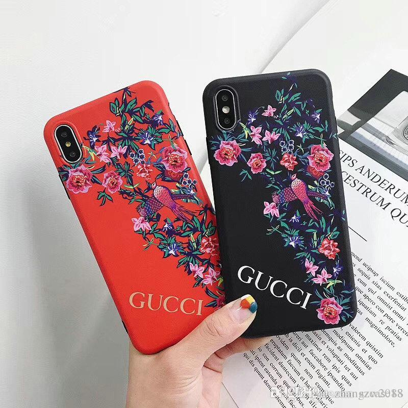 for iphone Xs max protective cover print flower bird mobile phone case for  iphone Xs Xr X 7 7plus 8 8plus 6 6plus brand design