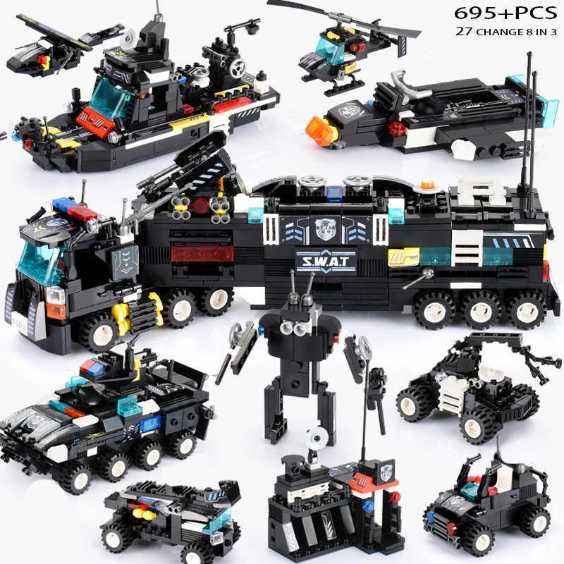 695pcs Newest Swat Blocks City Police Truck Building Blocks Sets Ship Helicopter Vehicle Creator Diy Bricks Toys For Children MX190731