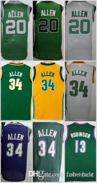 2019 NCAA Seattle Milwaukee 34 Ray Allen Jersey SuperSonics Bucks 20 Men 13  Glenn Robinson Stitched Green White Purple Yellow From Fair Trade 83ac95615