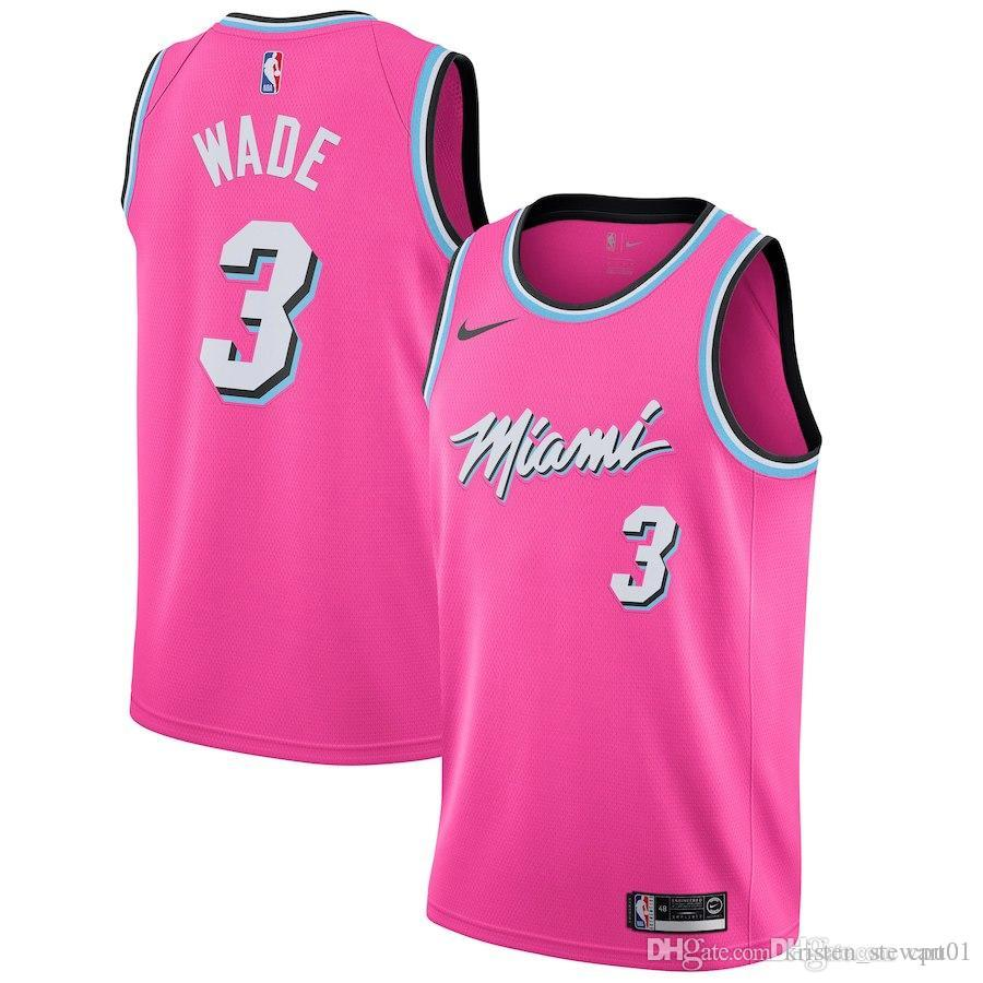 cheaper 9b610 4b887 Men Heat Miami New Season Jersey 3 Wade Reward Edition Baketball Jerseys -  Pink