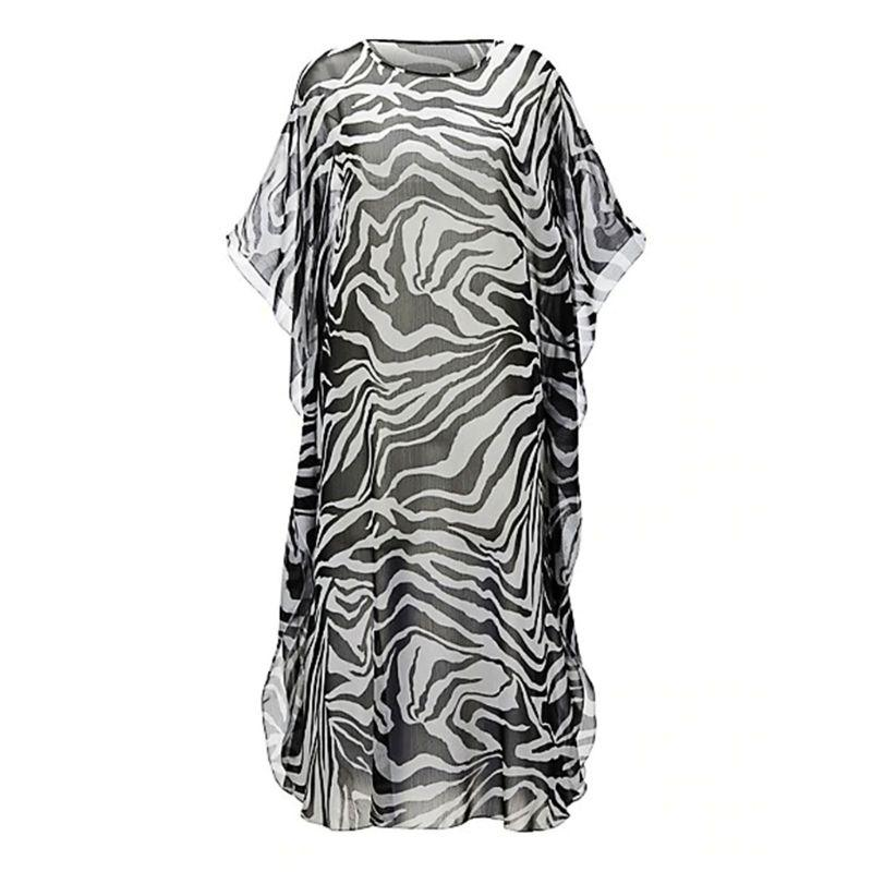 Womens Chiffon Zebra-stripes Digital Printing Bikini Cover Up Half Sleeves Semi-sheer Side Split Maxi Dress Scoop Neck Oversized Women's Clothing