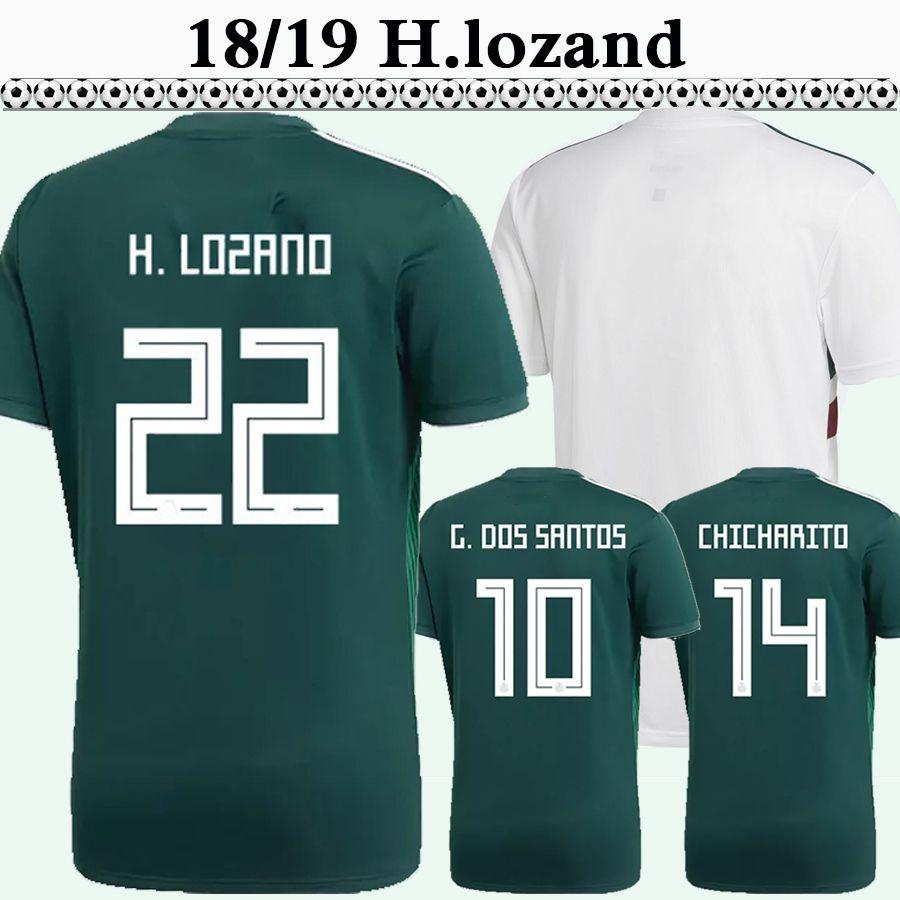 15be2a76f 2019 2018 Mexico CHICHARITO H.LOZANO Mens Soccer Jerseys R.JIMENEZ  A.GUARDADO Home Green Away Football Shirts H.HERRERA G.DOS SANTOS Uniform  From ...