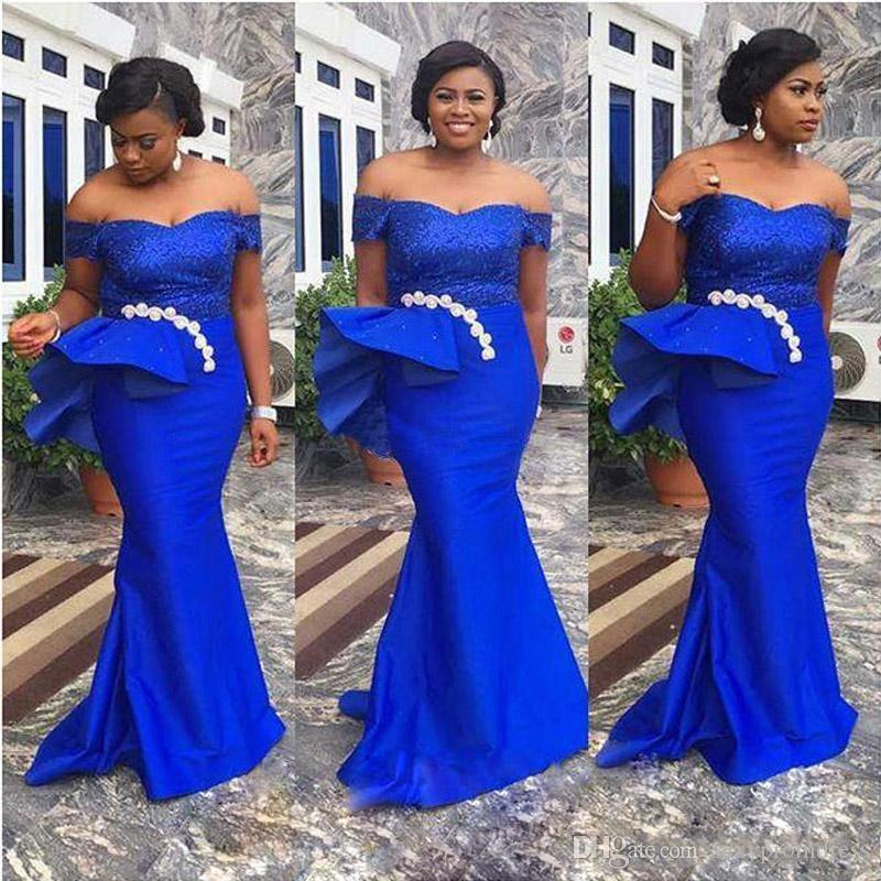 Royal Blue Plus Size Prom Dresses Eao Ebi Style Ruched Satin Mermaid  Evening Gowns African Floor Length Formal Party Dress Custom Made