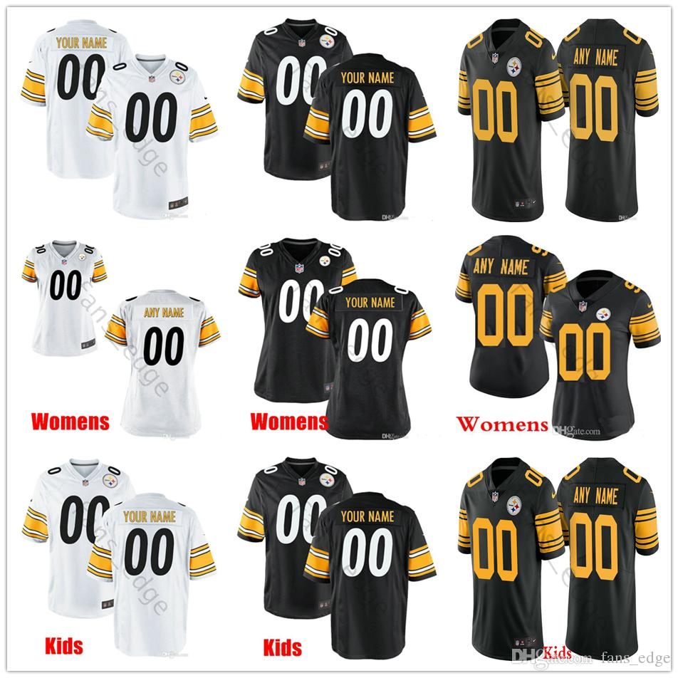 premium selection 9b1c9 99e46 Custom Pittsburgh #90 T.J. Watt 43 Troy Polamalu 36 Jerome Bettis 19  Smith-Schuster 30 Conner Men Women Kids Youth Steelers Stitched Jerseys