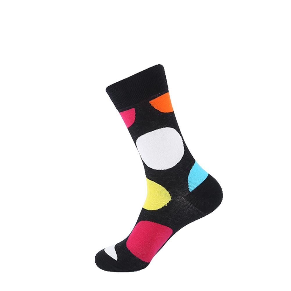 YEADU Funny Men's Colorful Combed Cotton Fashion Socks Striped Dots Casual Party Dress Socks Men