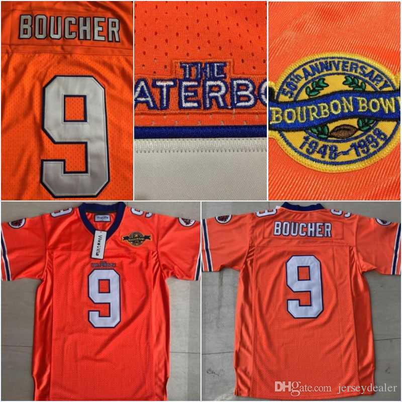 brand new 5ef83 00a1e Men The Waterboy NCAA Football Jersey #9 Bobby Boucher 50th Anniversary  Movie Stitched Jerseys Orange S-3XL Free Shipping