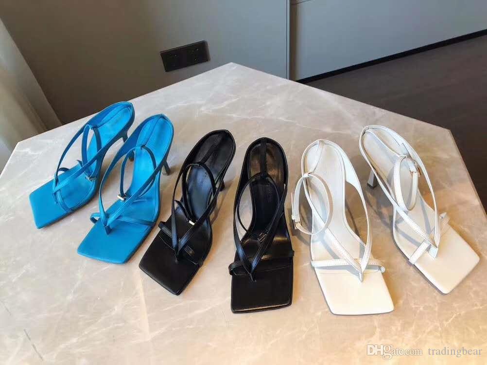 Bir kare taban tradingbear ile kökeni paketi şık gök mavisi V kayışı germek sandal tasarımcı topuk istikrarlı tek hakiki deri ayakkabı