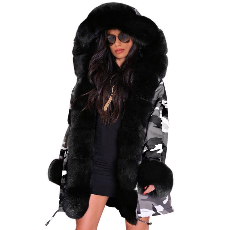 db9e6e87402d 2018 New Women Winter Overcoat Fur Collar Hooded Slim-fit Camouflage ...