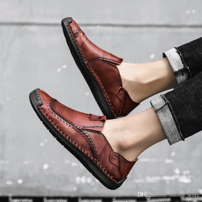95dfe499b1e8 Men Casual Shoes 2019 Fashion Men Shoes Leather Loafers Moccasins Slip On  Flats Loafers Male Big Size 38 48  6605 White Mountain Shoes Sneakers From  ...