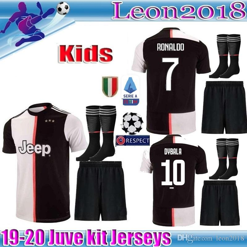 big sale 77f8f 3b984 kids kit 2019 2020 Juventus RONALDO soccer jersey 19 20 Children D. Costa  MANDZUKIC football shirt youth DYBALA JUVE Camiseta de futbol