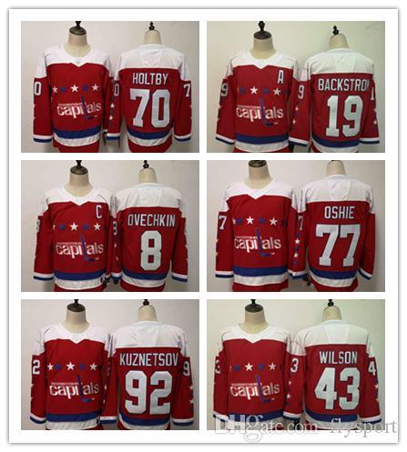 Compre 2018 Mens Nueva Camiseta De Hockey WASHINGTON CAPITALS 19 Nicklas  Backstrom 8 Alex Ovechkin 77 T.J. Oshie 43 Tom Wilson 70 Braden Holtby 92  Evgeny A ... 90a19de9e2e27