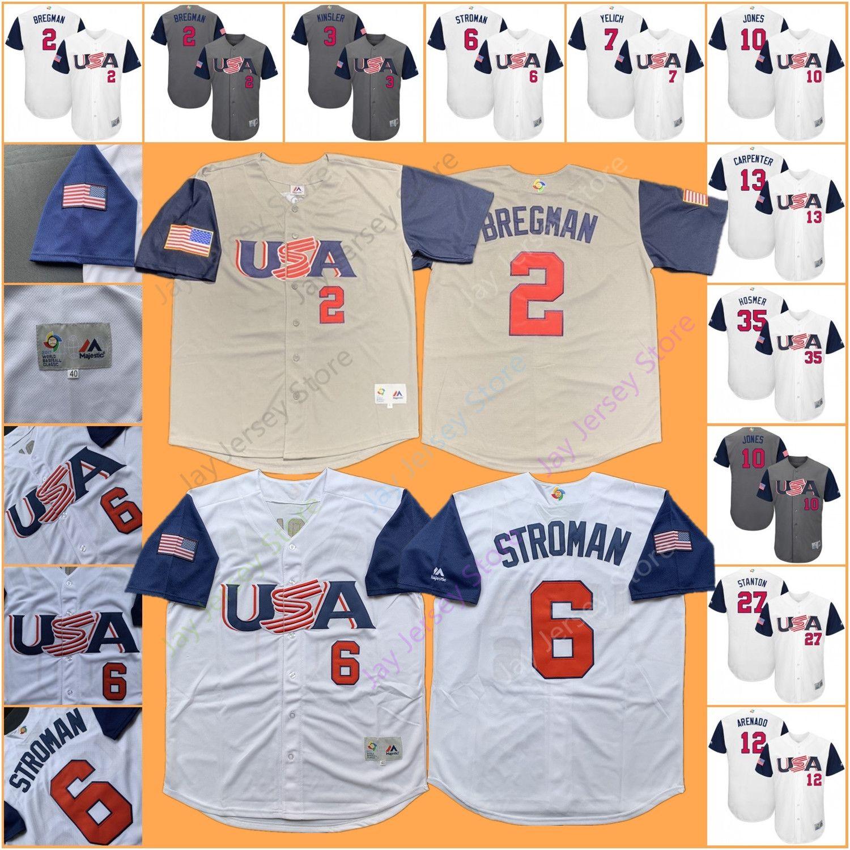 42c35c31079 2019 2017 Team USA Baseball WBC Jersey Alex Bregman Marcus Stroman Archer  Duffy Yelich Arenado Crawford Stanton Posey Hosmer Goldschmidt From  Davidjersey