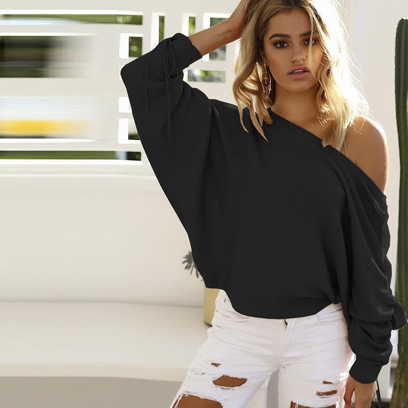 Compre Nuevo Otoño Invierno 2019 Mujeres Suéter Ocasional Batwing Buena  Calidad Mujer Manga Suéter Pit Top Ropa De Mujer A  29.49 Del Jamie17  3e1e3c020691