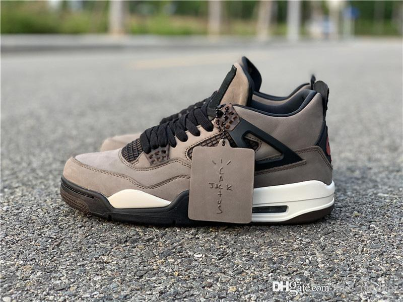 super popular 7a607 f9a3d Authentic Travis Scott x 4s Brown Suede Houston Oilers 4S Cactus Jack IV  Blue Purple Men Basketball Shoes Sports Sneakers Family And Friend