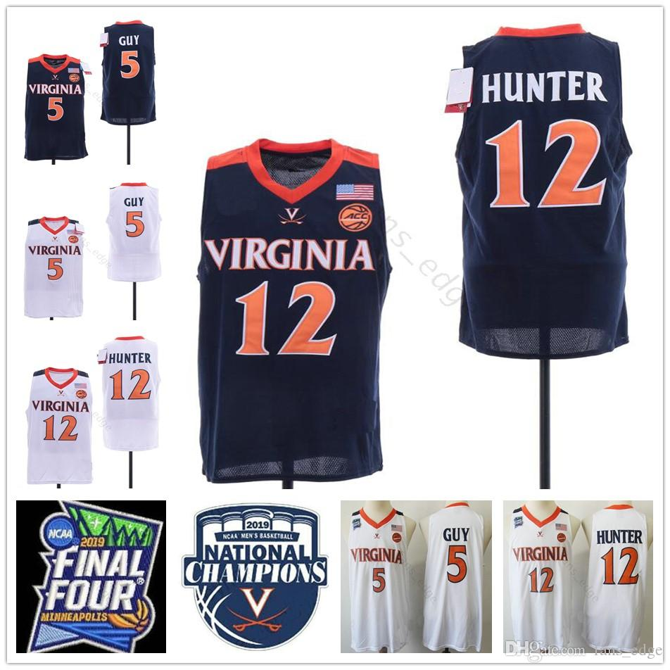 e4cb2fe22 2019 NCAA Final Four Champions Virginia Cavaliers  5 Kyle Guy Jersey Navy  Blue White Men Stitched UVA  12 De Andre Hunter Basketball Jerseys