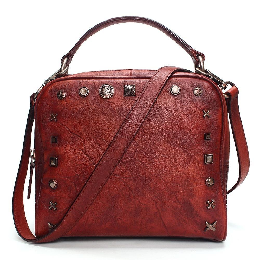 Leather rivets women's bag hand-washing distressed fashion ladies pillow bag original retro style solid color personality