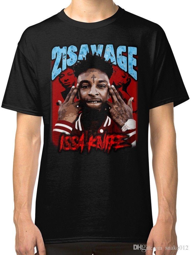 Grosshandel 21 Savage Issa Knife Schwarzes T Shirt Fur Manner Von