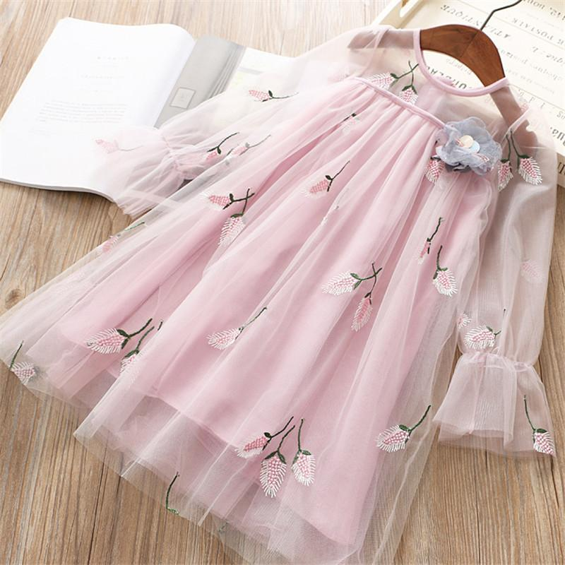 0-6 years High quality girl dress 2019 spring new fashion flower full sleeves kid children clothing princess girl dresses