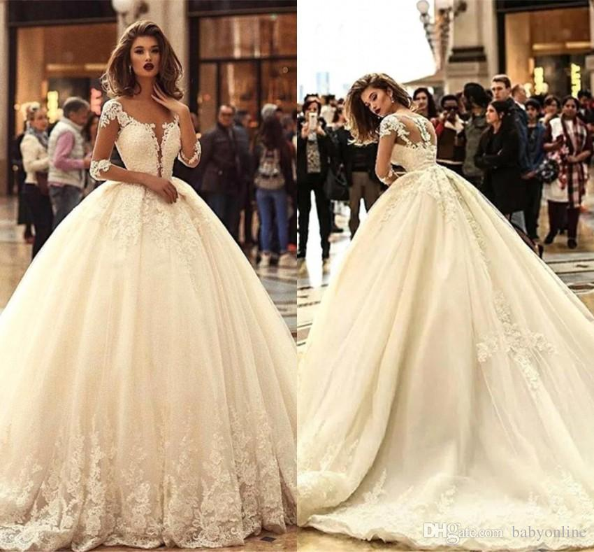 ab01507362ce 2019 Elegant Ball Gown Wedding Dresses Sheer Long Sleeves Appliques Plunging  Neck Arabic Bridal Gowns Plus Size BC0626 One Shoulder Ball Gown Wedding  Dress ...