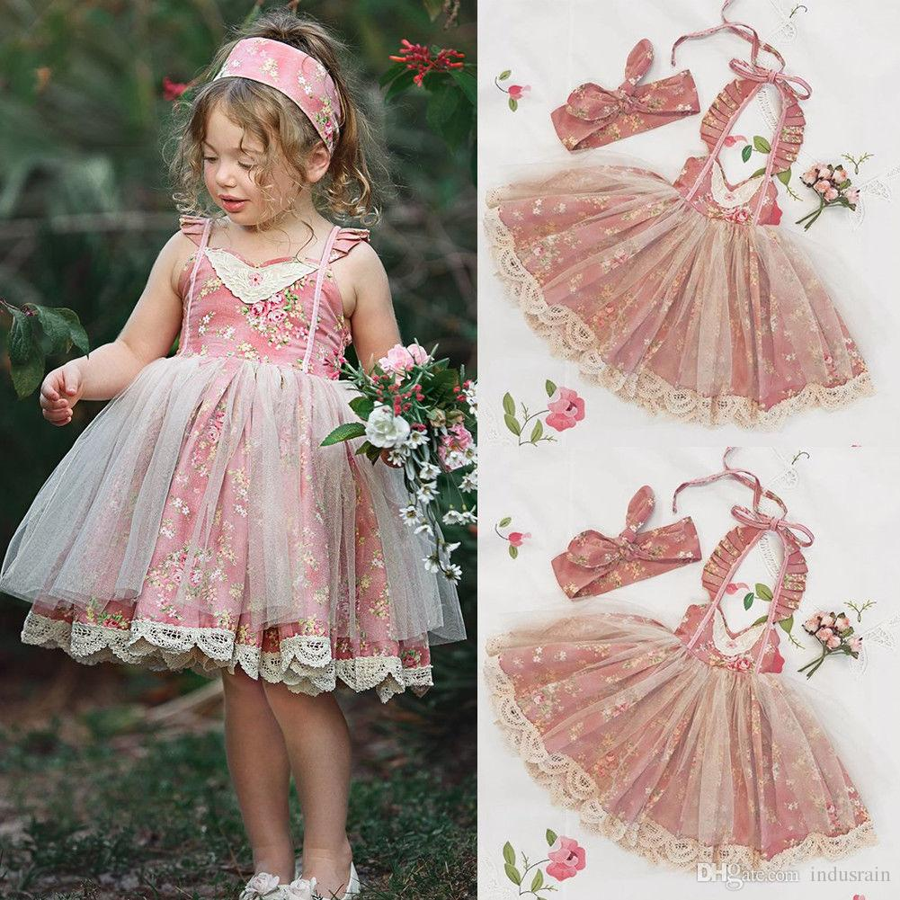 e7fd47d04f 2019 Hot Sale Kids Baby Girls Floral Dress Lace Flowers Tulle Apron Dress  Sleeveless Backless Bandage Mesh Party Sundress Clothes From Indusrain