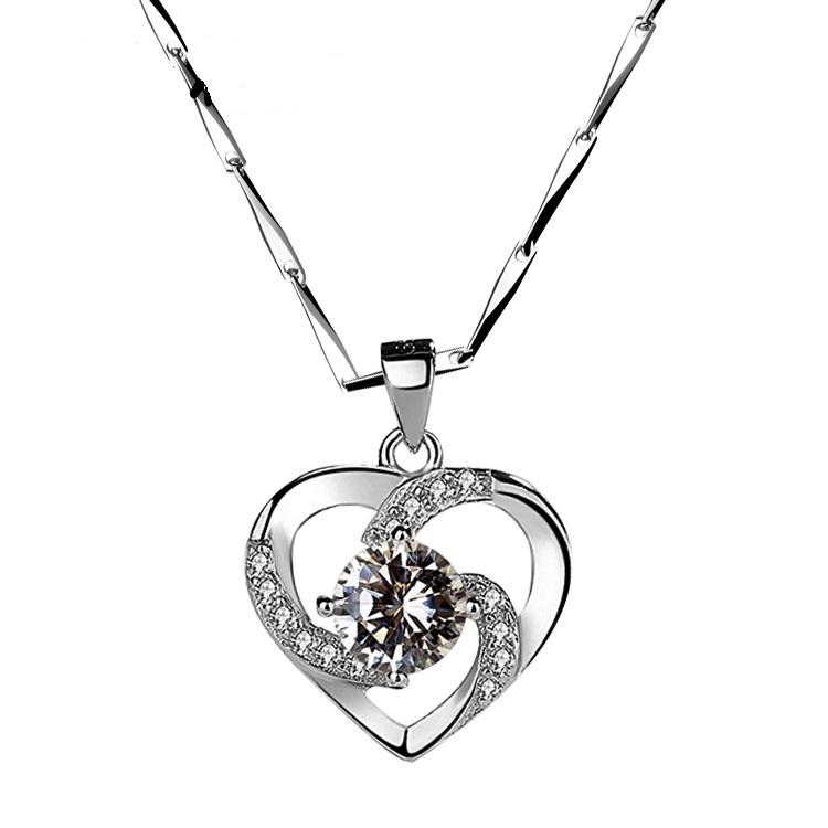 Luxury Design Crystal Cubic Zirconia Heart Pendant Necklace 925 Sterling Silver Chain Necklace for Women Christmas New Year Gift with Box