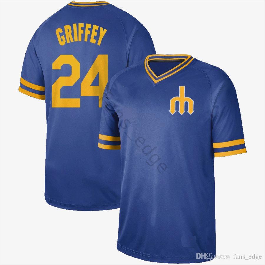 buy popular 48df6 b8157 2019 2020 New Arrival NK Seattle #24 Ken Griffey Jr Jersey Mariners Home  Blue 100% Stitched Vintage Retro New Style Baseball Jerseys