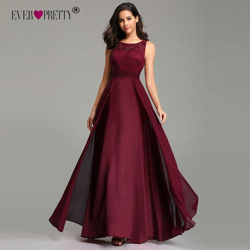 22db4f574aa5 Elegant Prom Dresses Long 2019 Ever Pretty Ez07695 Women's Sexy A-line  Sleeveless O-neck Chiffon Lace Cheap Evening Party Gowns Q190428