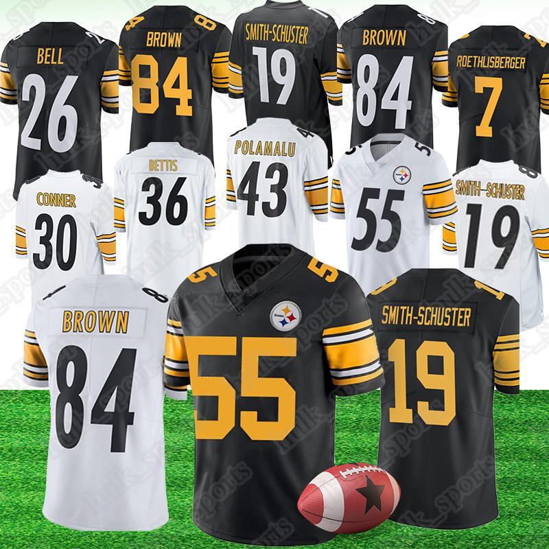 huge selection of 94c99 98a88 55 Devin Bush jersey Pittsburgh 7 Ben Roethlisberger Steeler jerseys 19  Juju Smith-Schuster 84 Antonio Brown american football jerseys