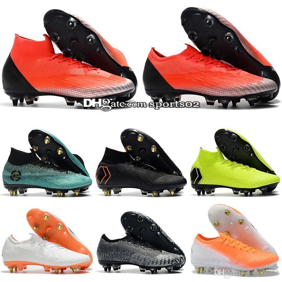 dda77137e8 Compre Nova Mercurial VII Elite SG AC   Superfly FG Mens Alta Tornozelo  Chuteiras De Futebol Sapatos De Futebol De Aço Sapatos De Unhas Baixo Preço  Atacado ...