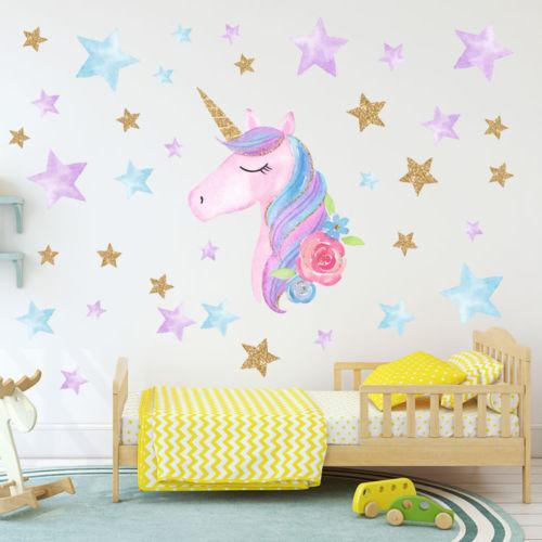 HOT Fantasy Unicorn Stars Rainbow Wall Sticker Girls Bedroom Wall Decal Art  Decal DIY Nursery Home Decor