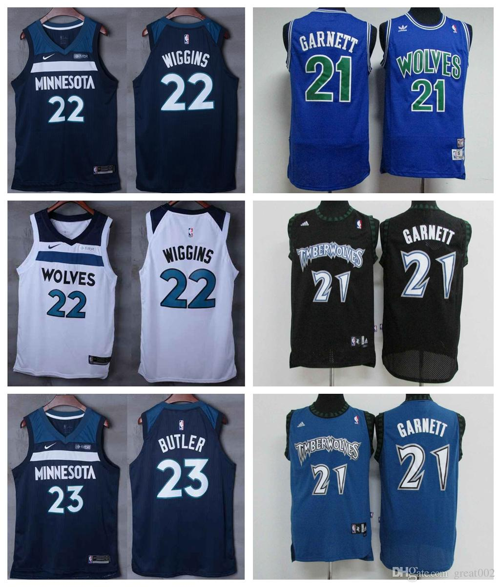 release date 2d659 92ae6 Retro Minnesota Basketball Timberwolves Jersey 21# Kevin Garnett 32#  Karl-Anthony Towns 23# Jimmy Butler 22# Andrew Wiggins Stitching Jersey