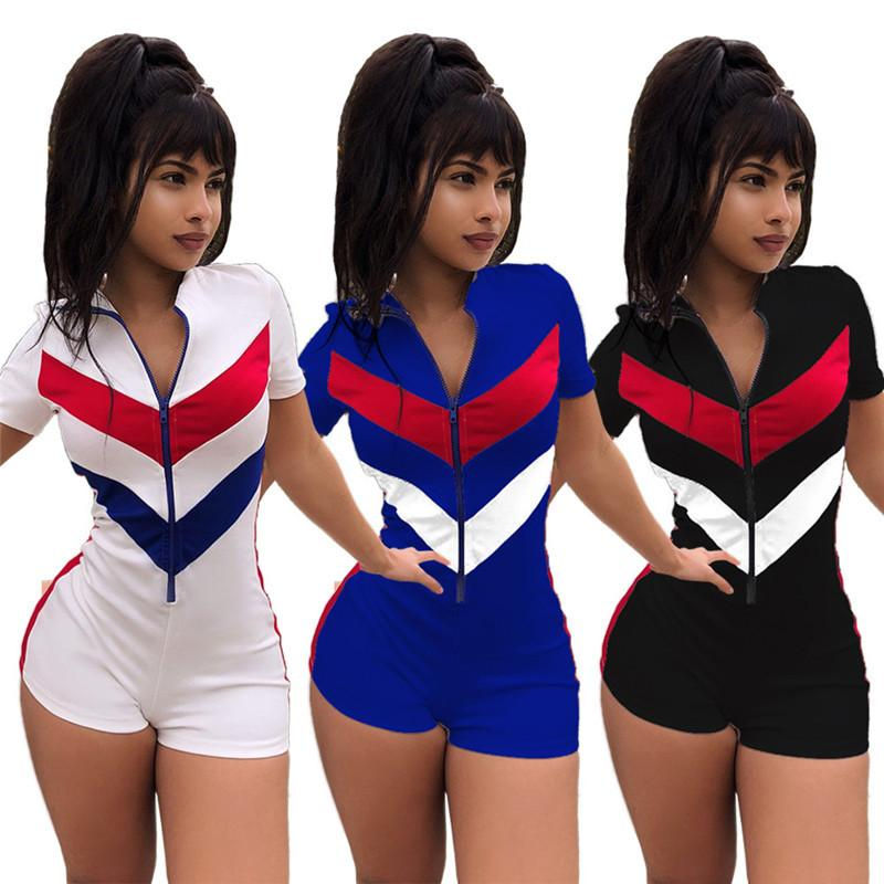 Fashion Girls Jumpsuit Short Sleeve Zipper Rompers Shorts Summer Bodycon Jumpsuits V Neck One Piece Bodysuit Party Clubwear Romper