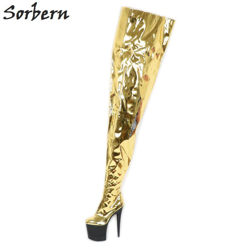 Metallic Gold High Low Women Boots 20Cm High Heels 10Cm Platform Crotch  Thigh Ladies Boot Custom Color Shaft Width