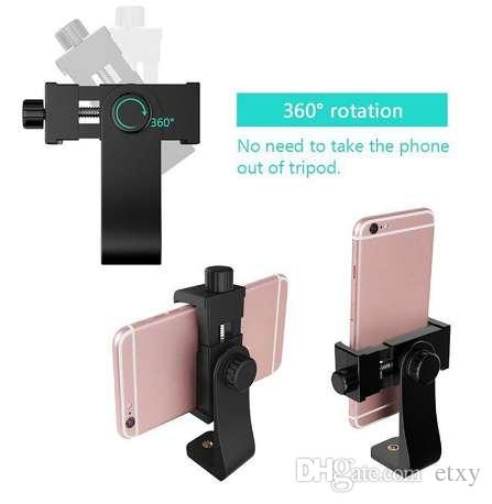 size 40 0d6a4 a762c Vertical 360 Rotation Tripod Stand Universal Tripod Mount Adapter Cell  Phone Clipper Holder for iPhone X 7 plus Samsung