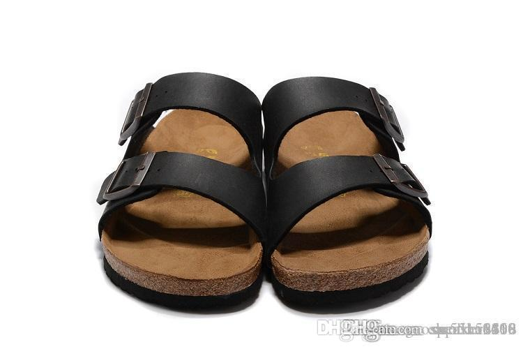 524a465f80 802 Arizona 2018 Hot sell summer Women and men black white flats sandals  Cork slippers unisex casual shoes print mixed colors size 34-46
