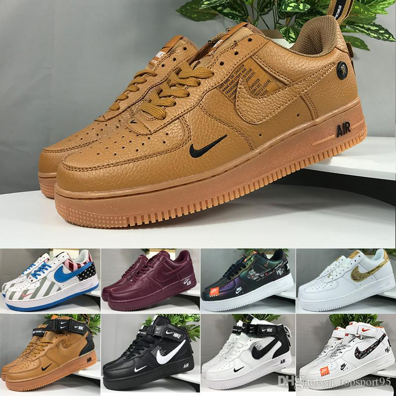 Nike air force 1 one off white Con Box One 1 Dunk MID 07 Hombres Mujeres Flyline Zapatillas de running Deportes Skate High Low 1 Todo blanco Todo Negro Zapatillas de deporte