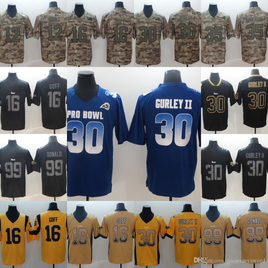 buy popular 435e2 3e0f2 Mens 99 Aaron Donald 16 Jared Goff 4 Greg Zuerlein 12 Cooks 30 Todd Gurley  II Football Jerseys Cheap Wholesale Fast Shipping S-XXXL