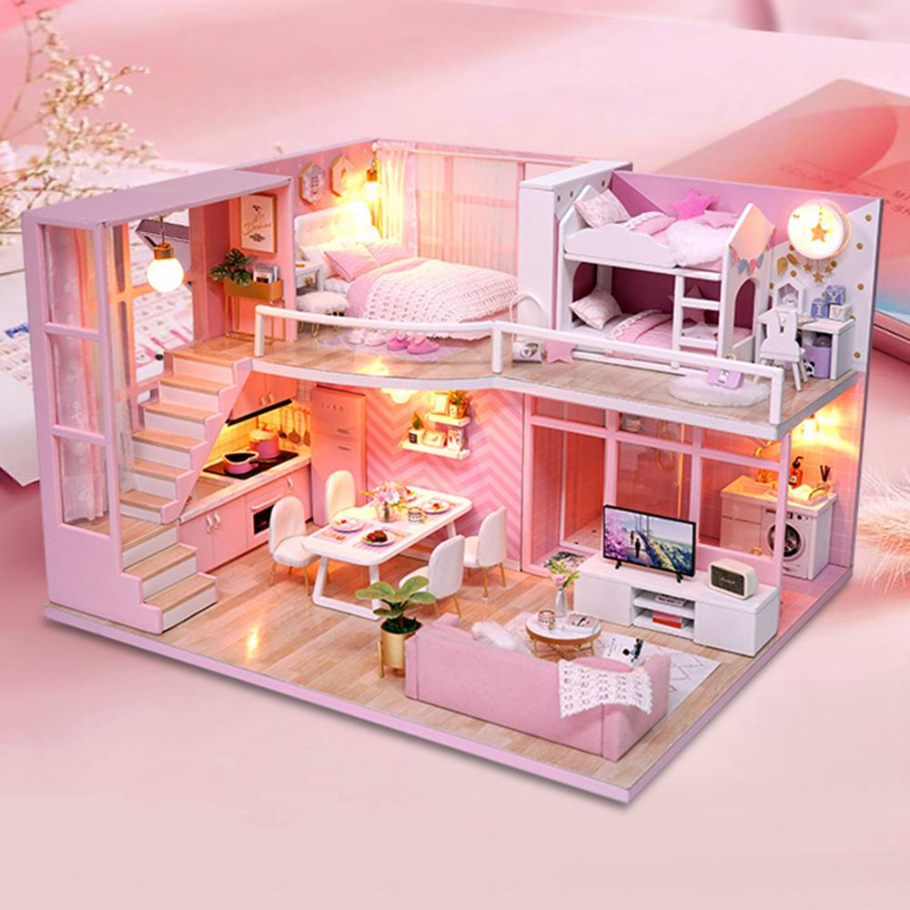 Hearty Diy Villa Doll House Wooden 3d Lights Miniature Dollhouse Furniture Puzzle Kit Toys For Children Bestist Series Gift Model Building
