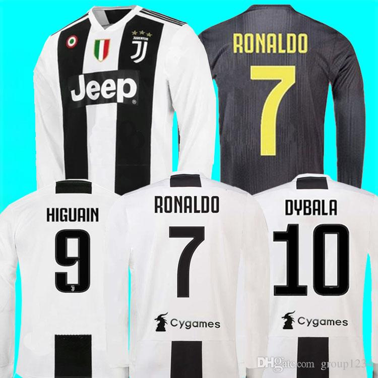 sports shoes 10d64 79fe5 New 2019 #7 RONALDO JUVENTUS HOME Long sleeve Soccer Jerseys 18 19 JUVE #10  DYBALA MANDZUKIC #11 D. COSTA AWAY Football uniforms