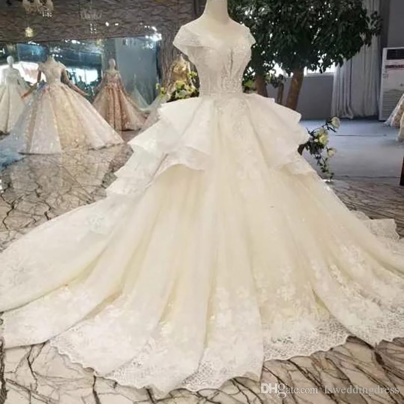 Luxury Ball Gown Wedding Dress With Mluti-layer Skirt Illusion O-Neck Cap Sleeves Lace Up Back Applique Beaded Wedding Gown With Train