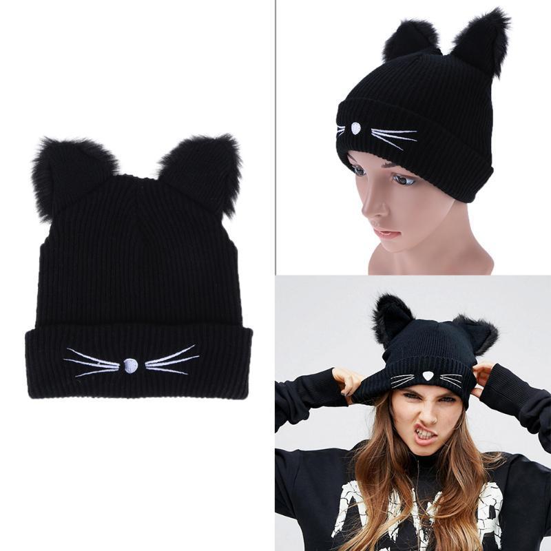 Warm Black Knitted Winter Hat For Women Cute Cat Ears Hat Skullies Hats Pom  Pom Caps Female Bonnet Female Woolen Braided Fur Beach Hats Beanie Hats For  Men ... 56f860f3a65