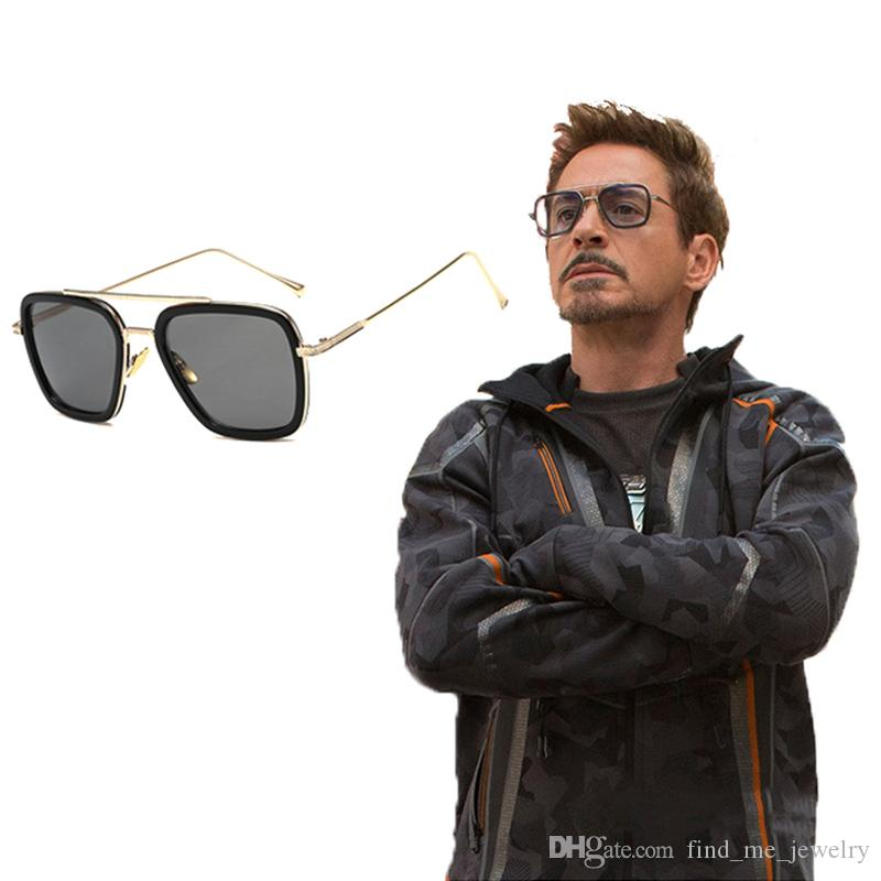 Personality Metal Square Frame UV Resistant Sunglasses Avengers Iron Man Gray Glasses For Male Fashion Summer Jewelry Accessories Wholesale