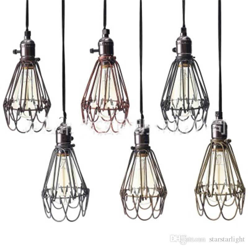 Retro Vintage Industrial Lamp Covers Pendant Trouble Light Bulb Guard Wire Cage Ceiling Fitting Hanging Bars Cafe Lamp Shade