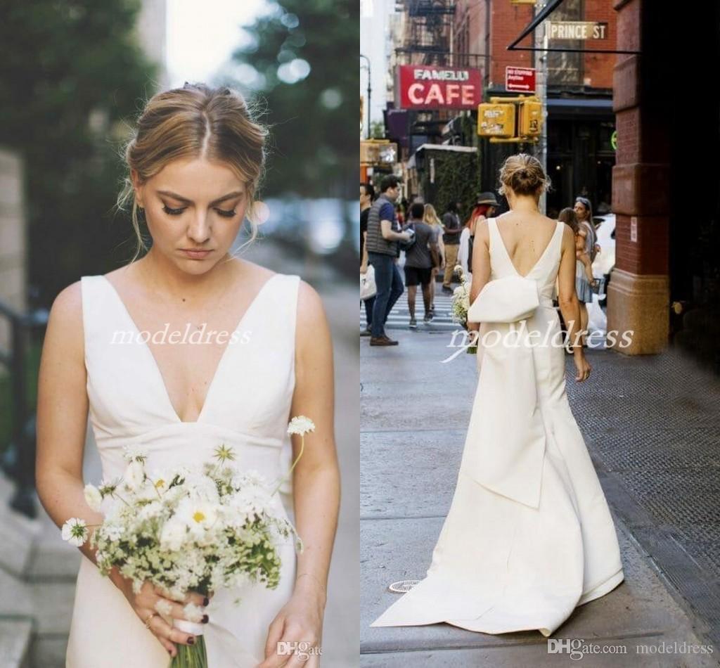 df6773e1e3 Plain Big Bow Mermaid Wedding Dresses 2019 V Neck Backless Sweep Train  Satin Garden Country Beach Bridal Gowns vestido de novia Cheap