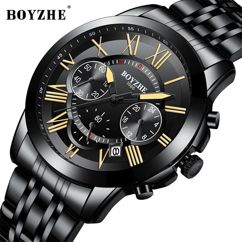4d88d8c7a87 BOYZHE Men s Watches Quartz Watches Men Top Brand Luxury Multi-function  Movement Stainless Steel Inox Strap Watch Men