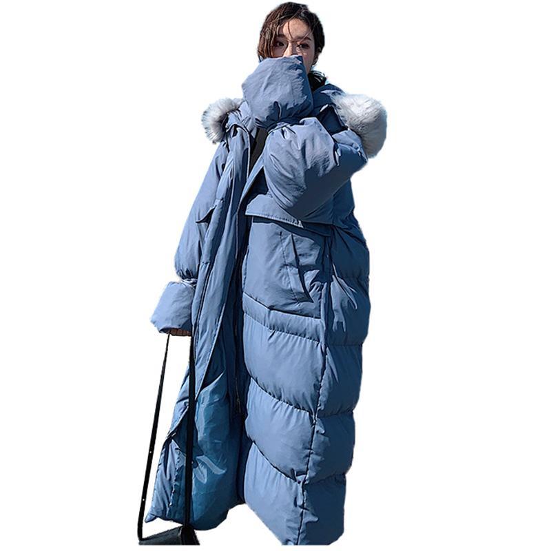 954466c6e0b Women Winter Coat Jacket Big Fur Collar Parkas Cotton Hooded Padded ...
