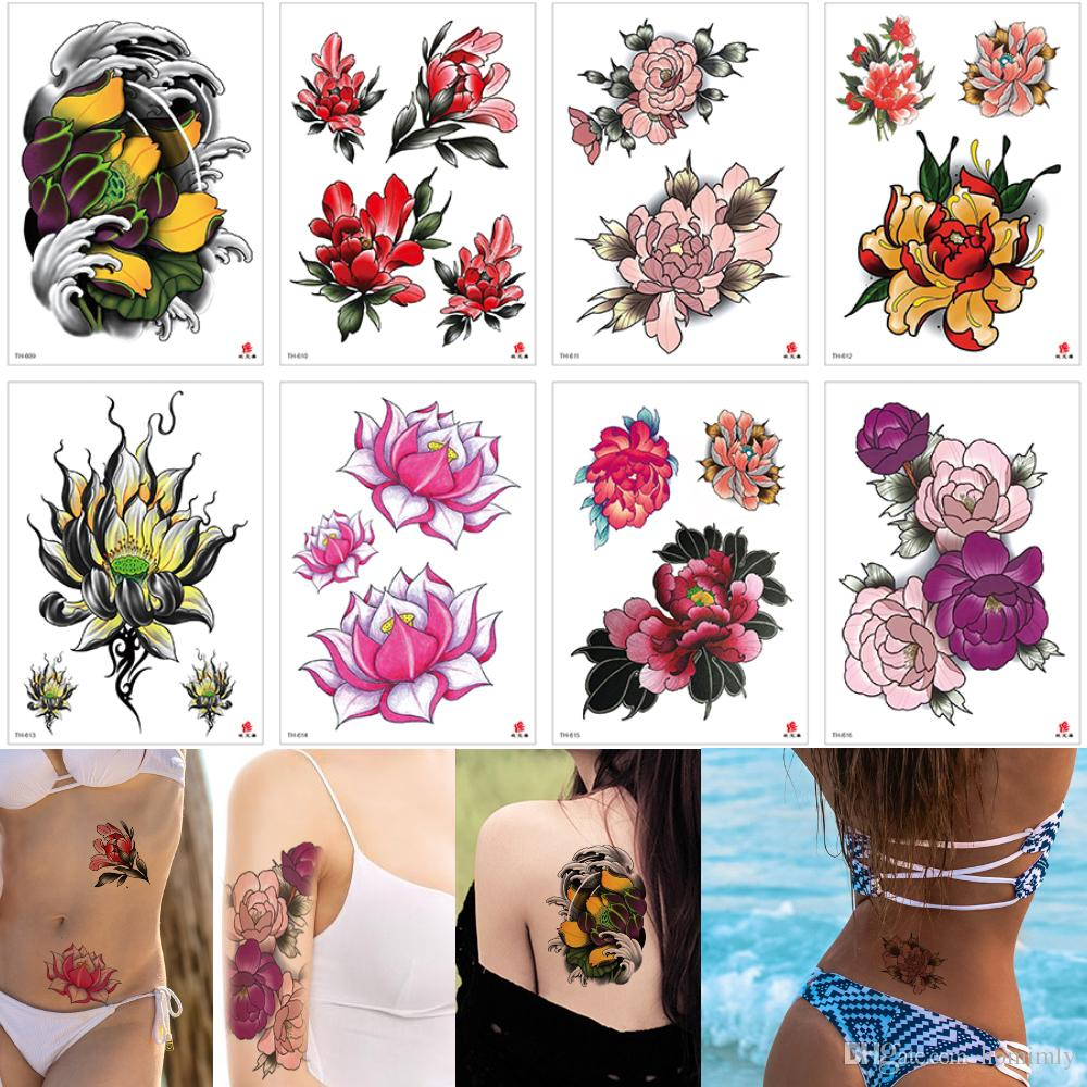 Small Flower Tattoo Colored Drawing Waterproof Temporary Designs Lotus Flower Peony Decal Arm Back Hands For Woman Girls Tattoo Sticker Gift