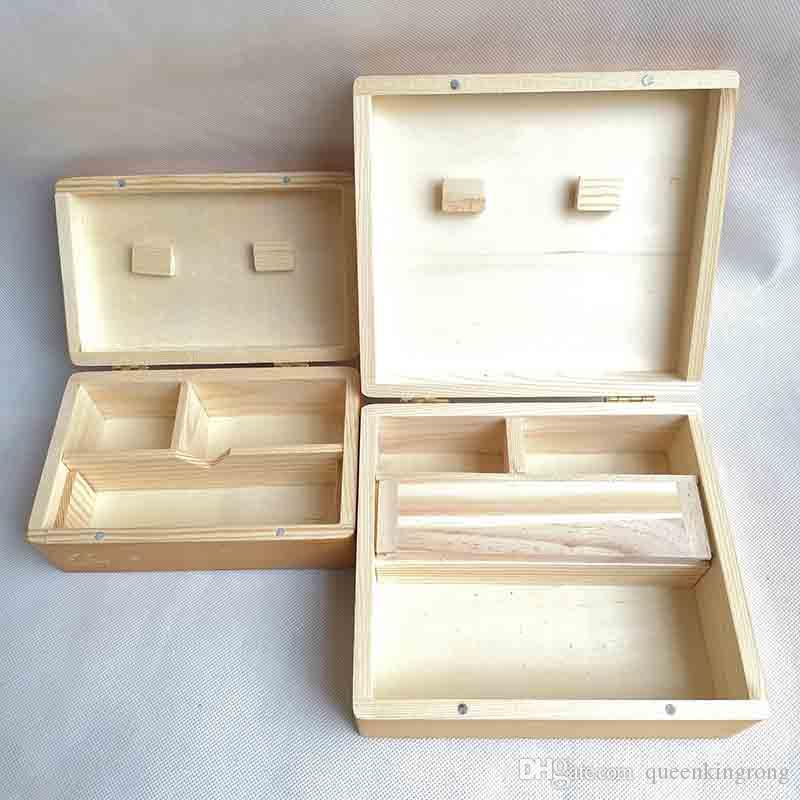 Square Wood Stash Box Tray Vape Oil Containers Set Wax Bamboo Storage Tobacco Cans Bamboo Wooden wax jars 2 Size for dry herb grinder